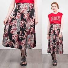 granny chic vintage floral rose pattern midi length skirt 80 s 90 s granny chic