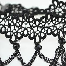 white lace choker necklace images Soft black lace choker necklace with black crystal beads and pendants jpg