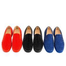 roller boat flat spikes black black bk veau velours men shoes