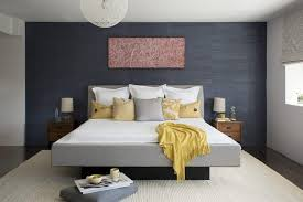 Contemporary Blue Bedroom - blue and gray bedroom square black leather pouffe sofa minimalist