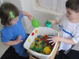 children activities rainbow gelatin sensory tub no time for flash cards