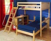 grey metal bunk bed with blue bed and blue futon couch on laminate