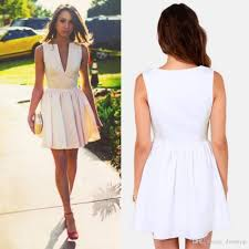 charming white party dresses for women a line plunging neck short