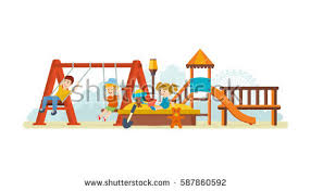 swing guys on playground concept guys stock vector 587860592