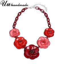 red flower necklace images Vintage acrylic red flower pendant necklace choker kolye harajuku jpg