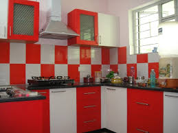 Red Kitchen Set - brilliant red and white kitchen cabinets create incredible kitchen