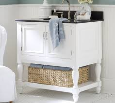 likeable white wooden bahtroom vanity storage with rattan box plus