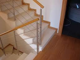 Wooden Banisters And Handrails Wooden Railing Stainless Steel With Bars Indoor Ecoline