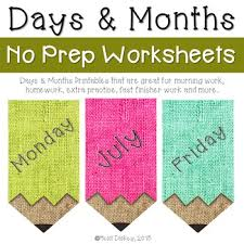days of the week u0026 months of the year worksheets by heidi dickey