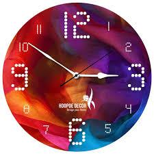 Designer Wall Clock Hoopoe Decor Bright Acrylic Colour Trendy Designer Wall Clock