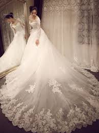 sweetheart long sleeves lace cathedral train wedding dress