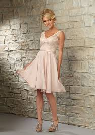 knee length bridesmaid dress with lace bodice and chiffon skirt