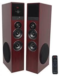 rca 80 watt home theater speaker system rockville tm80c cherry powered home theater tower speakers 8