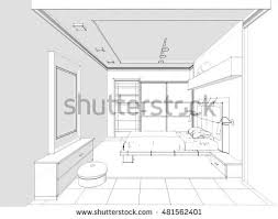 Interior Sketch by Sketch Hand Drawing Kitchen Interior Plan Stock Vector 437968264