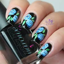 winter blues blue roses nail art set in lacquer
