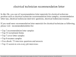 Sample Resume For Electrical Technician by Electrical Technician Recommendation Letter