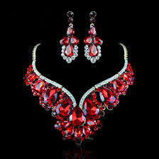 red crystal necklace set images Wedding bridal jewelry set for brides red crystal water drop jpg