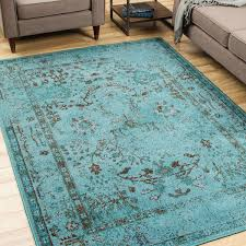 10 X 6 Area Rug Style Dyed Distressed Traditional Teal Blue Grey