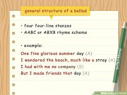 how to write a ballad with sample ballads wikihow
