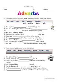 all worksheets adverb worksheets for grade 7 printable