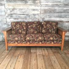 craftsman style sofa with floral print