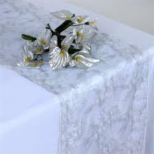 white and silver table runner fairy dust lace table runner white silver tablecloths factory