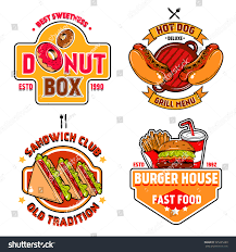 isolated colored fast food emblem set stock vector 525225289