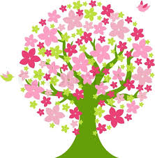 tree with color flowers stock vector colourbox