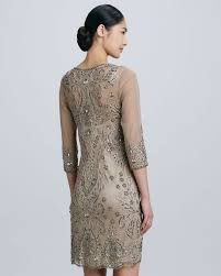 sue wong threequarter sleeve cocktail dress in natural lyst