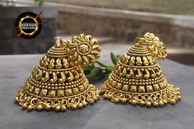 gold earrings jhumka design jhumka design nityagata aionios creations