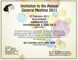 Invitation Card For Get Together Invitation To Babaylan Denmark U0027s Annual General Meeting U2013 Babaylan