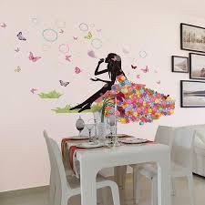 headboard wall art flower fairy on grassland wall decal sticker colorful dress girl