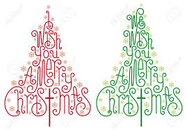 christmas trees with hand drawn letters and snowflake royalty free