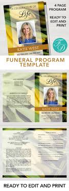 print funeral programs yellow tulips printable funeral program ready to edit print