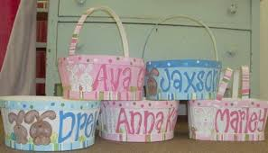 painted easter baskets personalized painted girl bunny easter basket ideas family