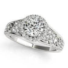 Home Designer Pro Lattice 40ctw Lattice Round Vintage Halo Engagement Ring Setting In 18k