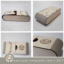 living hinge wooden box template for laser cut and engrave online