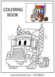 funny smile cartoon truck coloring book stock vector 557498659
