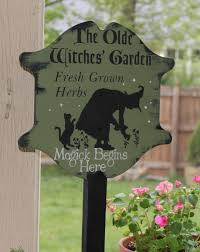 Outdoor Decorative Signs Olde Witches Herb Garden Decorative Sign W Stake Wiccan Garden