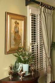 Traditional Interior Shutters Plantation Shutters With Curtains Living Room Contemporary With
