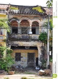 kampot french colonial architecture ruin cambodia stock photo