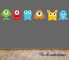 reusable monsters wall decal childrens fabric wall decal 48 00 lots of monsters