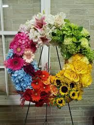 rainbow wreath in westfield nj the flower shop