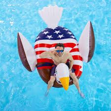 Swimways Baby Spring Float Sun Canopy Blue by Giant Rideable Patriotic American Bald Eagle Inflatable Swimming