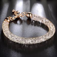 silver bracelet with crystal images Mytys 18k rose gold mesh crystal charm bracelet cubic jpg