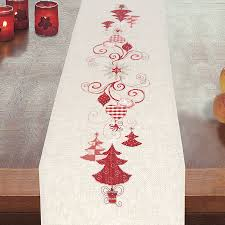 trees and ornaments table runner cross stitch needlepoint