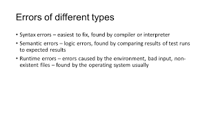 programming errors errors of different types syntax errors