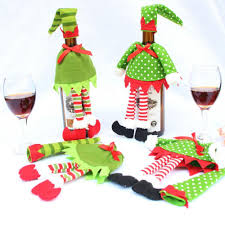 christmas decoration supplies polka dot stripe red wine bottle