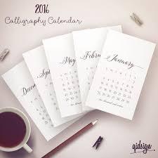 printable calendar 2016 etsy typography calendar 2016 4x6 calligraphy calendar printable