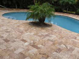 noce travertine outdoor tiles in herringbone pattern travertine